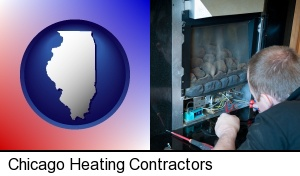 a heating contractor servicing a gas fireplace in Chicago, IL