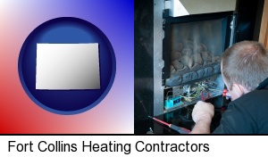 Fort Collins, Colorado - a heating contractor servicing a gas fireplace
