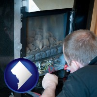 washington-dc map icon and a heating contractor servicing a gas fireplace