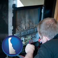 delaware map icon and a heating contractor servicing a gas fireplace