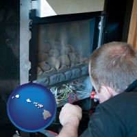 hawaii a heating contractor servicing a gas fireplace