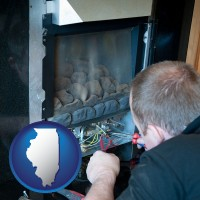 illinois map icon and a heating contractor servicing a gas fireplace