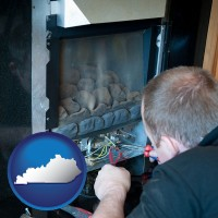kentucky a heating contractor servicing a gas fireplace