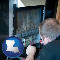 louisiana map icon and a heating contractor servicing a gas fireplace