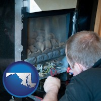 maryland map icon and a heating contractor servicing a gas fireplace