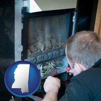 mississippi map icon and a heating contractor servicing a gas fireplace