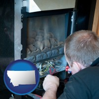 montana a heating contractor servicing a gas fireplace