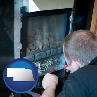 nebraska map icon and a heating contractor servicing a gas fireplace