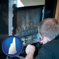 new-hampshire a heating contractor servicing a gas fireplace
