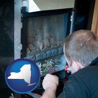 new-york map icon and a heating contractor servicing a gas fireplace