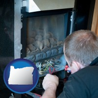 oregon map icon and a heating contractor servicing a gas fireplace