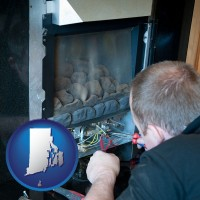 rhode-island a heating contractor servicing a gas fireplace