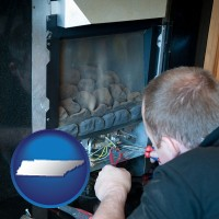 tennessee map icon and a heating contractor servicing a gas fireplace