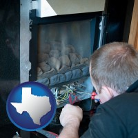 texas map icon and a heating contractor servicing a gas fireplace