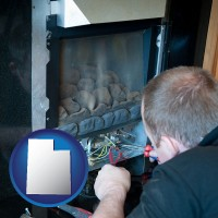 utah map icon and a heating contractor servicing a gas fireplace