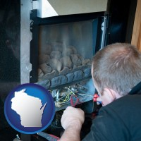 wisconsin map icon and a heating contractor servicing a gas fireplace