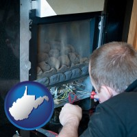 west-virginia map icon and a heating contractor servicing a gas fireplace