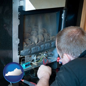 a heating contractor servicing a gas fireplace - with Kentucky icon