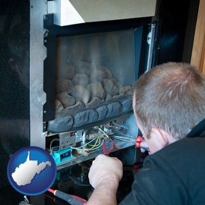 a heating contractor servicing a gas fireplace - with West Virginia icon